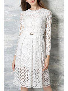 Long Sleeve Guipure Lace Midi Dress - White 2xl