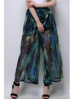 Floral Print Chiffon Palazzo Pants - Blackish Green Xl
