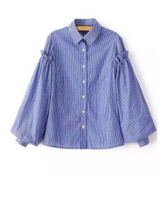 Striped Shirt Collar Balloon Sleeve Shirt - Royal Blue L
