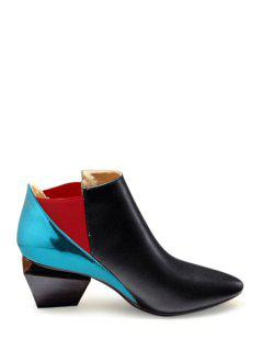 Color Block Elastic Strange Heel Ankle Boots - Blue And Black 37