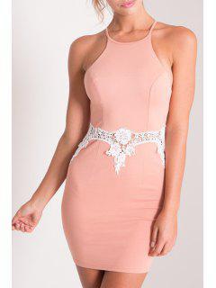 Spaghetti Strap Combined Lace Sheath Dress - Pink S