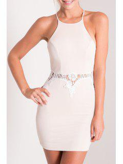 Spaghetti Strap Combined Lace Sheath Dress - White S