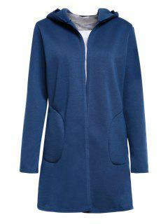 Hooded Pocket Design Fleece Lining Coat - Blue S