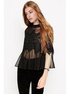 Voile Lace Spliced Stand Collar See-Through Blouse - Black S