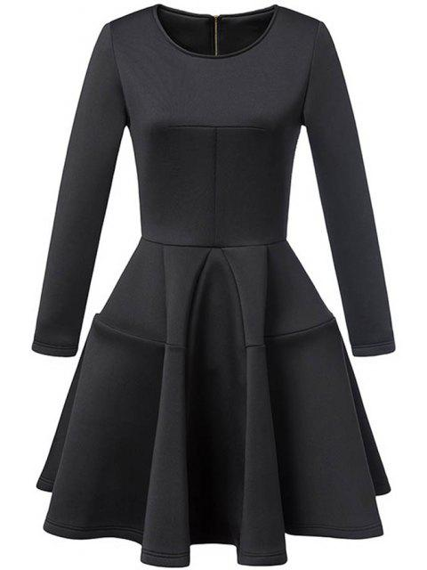 women Waisted Round Collar Long Sleeve Ball Gown Dress - BLACK S Mobile