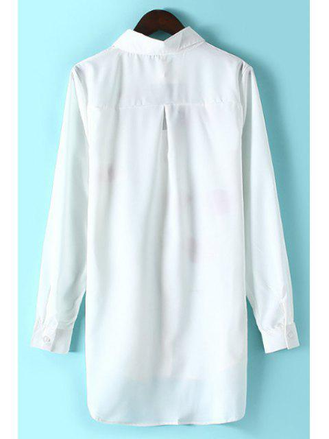 online Lips Print Shirt Collar Long Sleeve Shirt - WHITE S Mobile