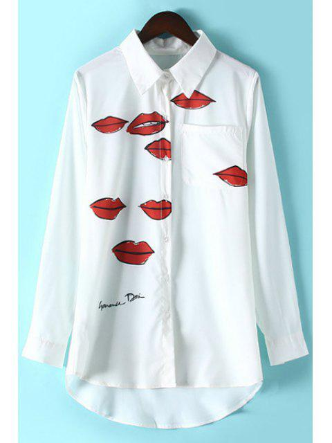 Red Lips Print camisa de cuello camisa de manga larga - Blanco L Mobile