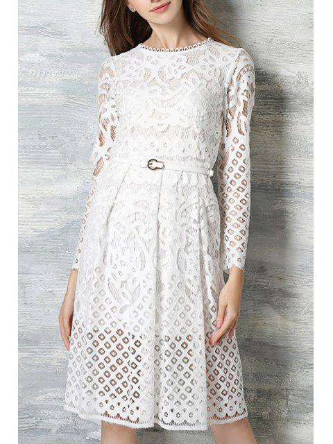best Long Sleeve Guipure Lace Midi Dress - WHITE 2XL Mobile