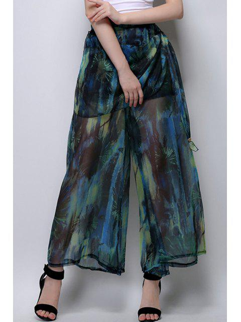 latest Floral Print Chiffon Palazzo Pants - BLACKISH GREEN L Mobile