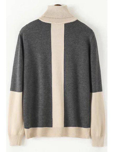 fancy Color Block Turtle Neck Long Sleeve Sweater - LIGHT KHAKI ONE SIZE(FIT SIZE XS TO M) Mobile