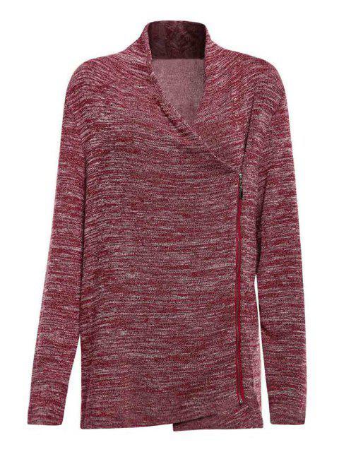 chic Cowl Neck Zippered Purple T-Shirt - PURPLE L Mobile