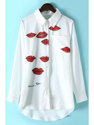 Corsage col de chemise à manches longues imprimé lèvres rouge