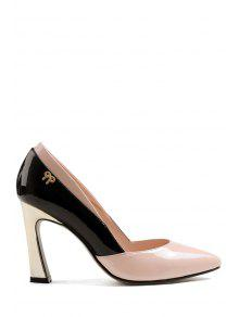 Buy Bow Color Block Chunky Heel Pumps 39 PINK