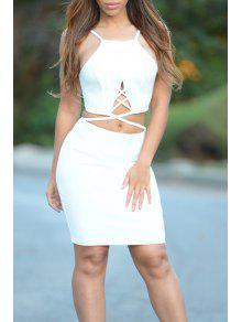 Vestido De Fiesta Con Tirante Fino Con Abdomen Desnudo - Blanco L