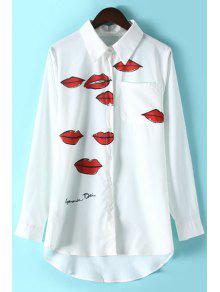 Lips Print Shirt Collar Long Sleeve Shirt - White M