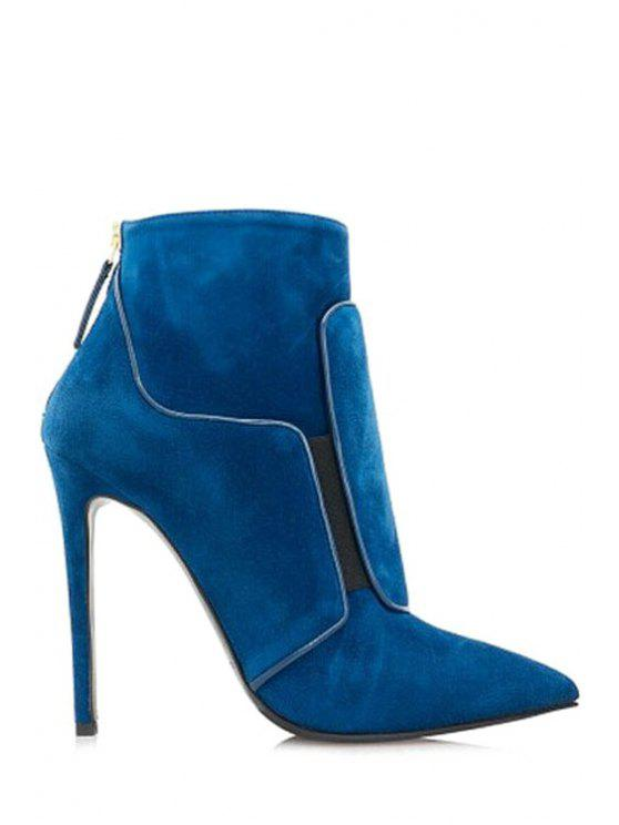 shop Solid Color Pointed Toe High Heel Boots - BLUE 35