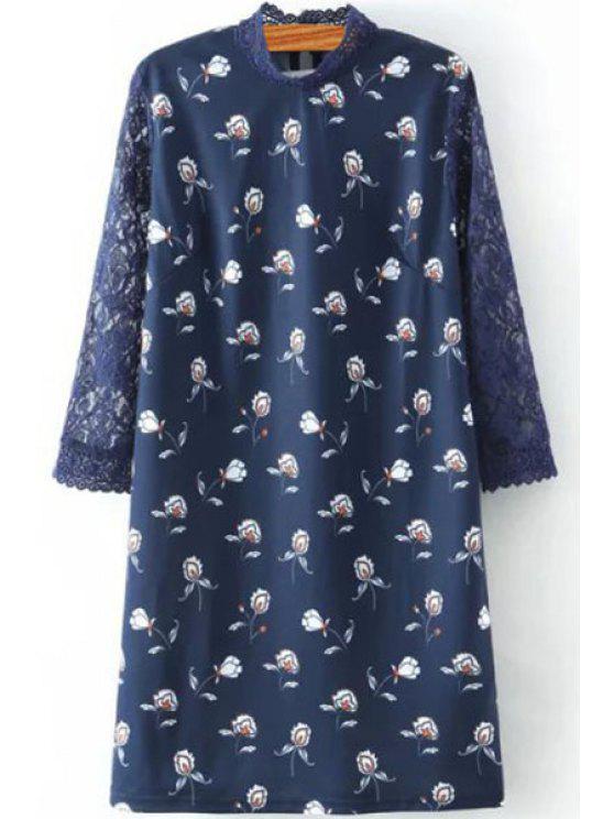 Printed Stand Collar 3/4 Sleeve Lace Spliced Dress - PURPLISH BLUE L