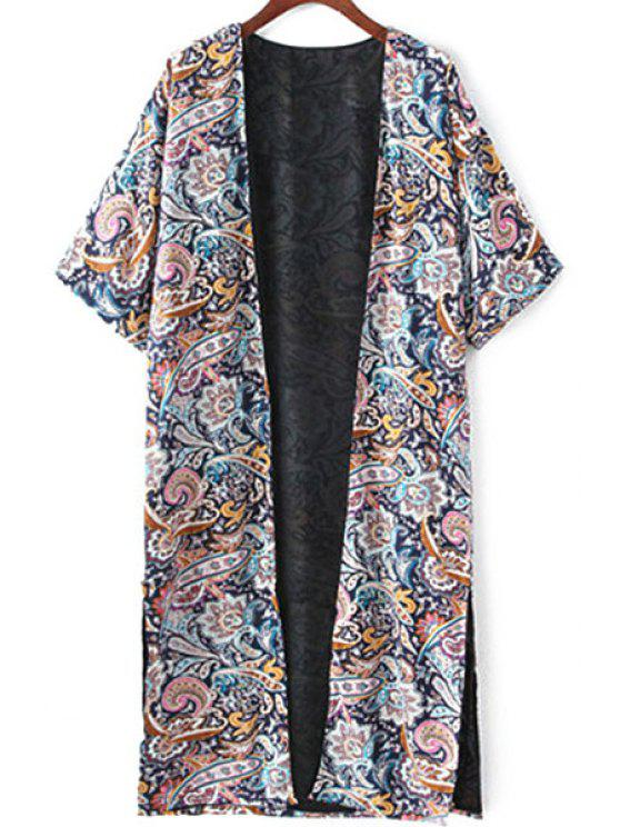hot Retro Print Half Sleeve Kimono Blouse - COLORMIX M