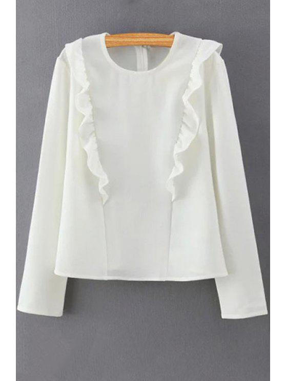 women's Solid Color Ruffles Round Collar Long Sleeve Blouse - WHITE M
