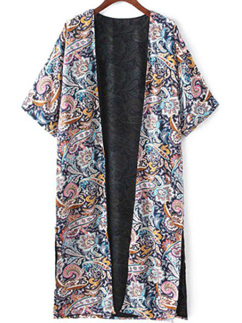 new Retro Print Half Sleeve Kimono Blouse - COLORMIX S Mobile