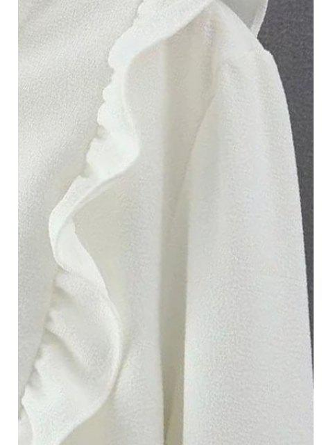 women's Solid Color Ruffles Round Collar Long Sleeve Blouse - WHITE M Mobile