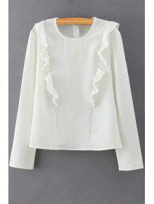 Solid Color Ruffles Round Collar Long Sleeve Blouse - White M