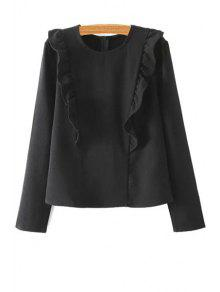 Buy Solid Color Ruffles Round Collar Long Sleeve Blouse - BLACK S