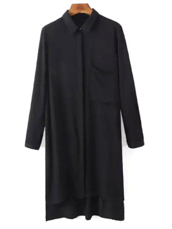 Chemise femme à manches longues à col de chemise avec fente latéral - Noir M