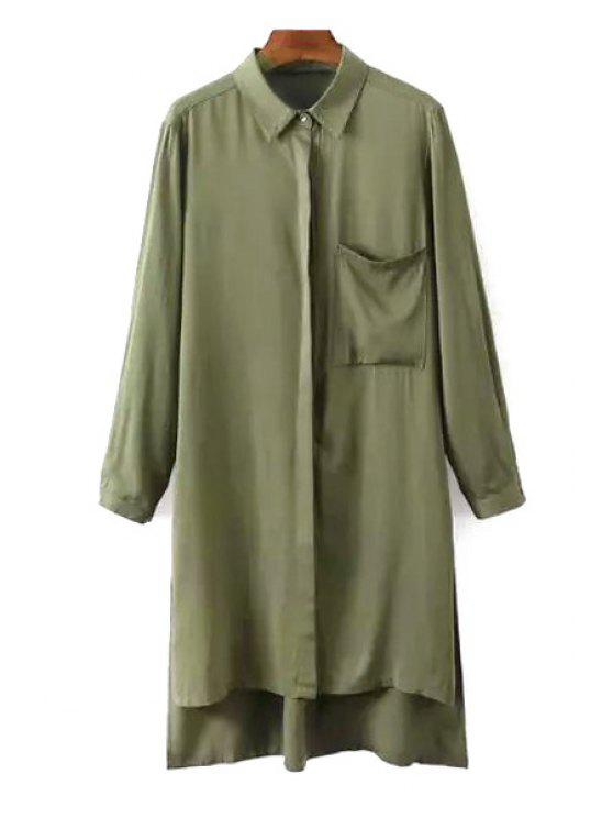 hot Side Slit Turn Down Collar Long Sleeve Shirt - ARMY GREEN L