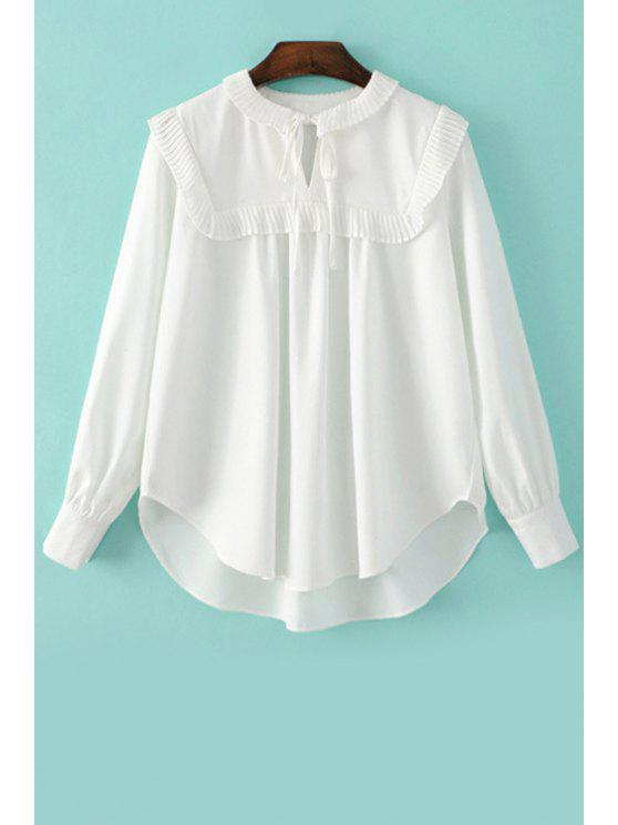 fashion Pleated Spliced Turn Down Collar Long Sleeve Blouse - WHITE L