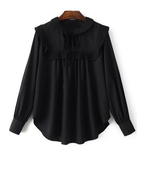 Plisado empalmado Turn Down de manga larga cuello de la blusa - Negro L