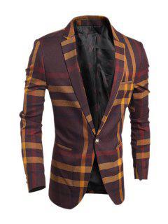 Tournez-Down Collar Color Block Tartan Imprimer Blazer Minceur Homme Manches Longues - Rouge Vineux  L