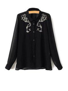 Beading Embroidery Turn-Down Collar Long Sleeve Shirt - Black L