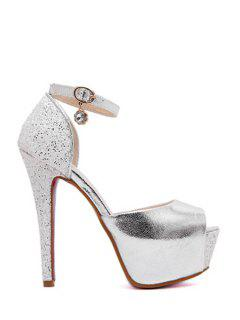 Ankle Strap Platform Sequins Peep Toe Shoes - Silver 36