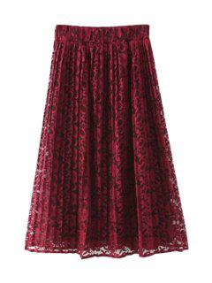A-Line Lace High-Waisted Skirt - Wine Red L