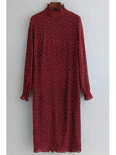 Polka Dot Print Stand Neck Chiffon Dress - Red