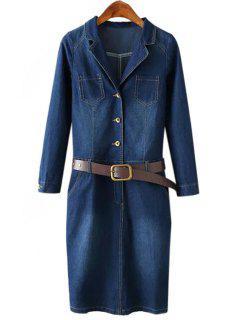 Denim Lapel Collar Long Sleeve Dress - Purplish Blue L