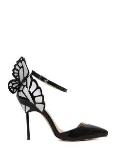 Butterfly Pointed Toe Ankle Strap Pumps - Black 40