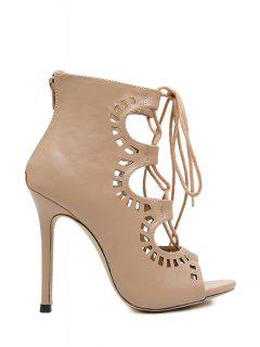 Hollow Out Cross-Strap Peep Toe Shoes - Nude 39