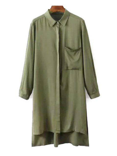 hot Side Slit Turn Down Collar Long Sleeve Shirt - ARMY GREEN L Mobile