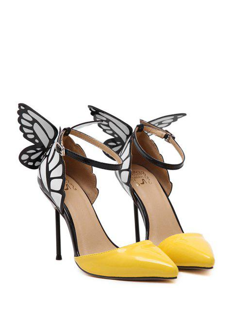 women's Butterfly Pointed Toe Ankle Strap Pumps - YELLOW 39 Mobile