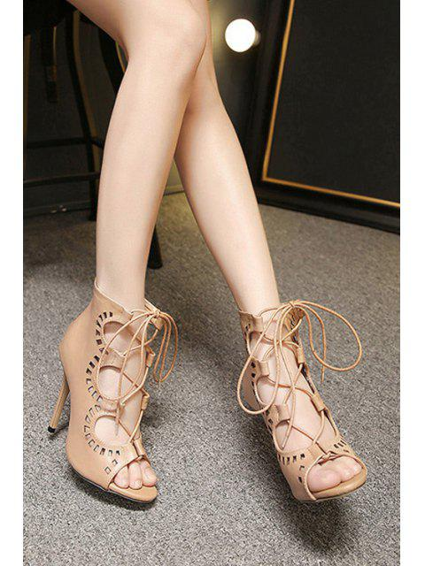 shops Hollow Out Cross-Strap Peep Toe Shoes - NUDE 39 Mobile