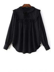 Pleated Spliced Turn Down Collar Long Sleeve Blouse - Black L