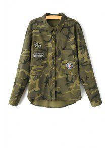Camouflage Imprimer Turn Down Collar Manches Longues - Vert Armée S