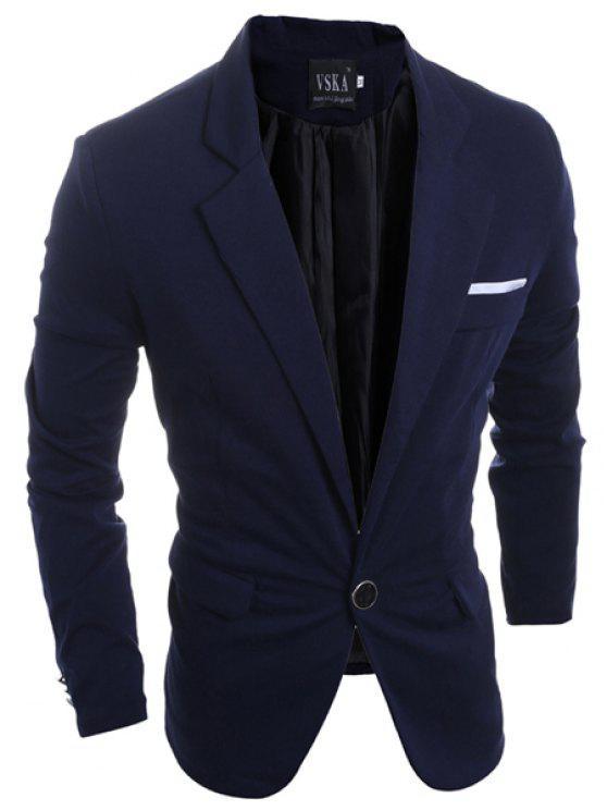 Eleganter Umlegekragen Pure Color Zurück Slit Langarm-Blazer der Männer - Kadettenblau L
