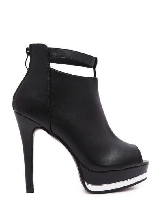 chic Solid Color Platform Zip Peep Toe Shoes - BLACK 38