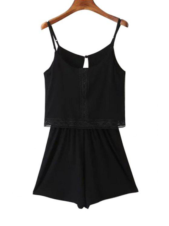 affordable Lace Band Collarless Braces Playsuit - BLACK M