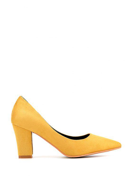 5642011441b Flock Pointed Toe Chunky Heel Pumps BLACK YELLOW