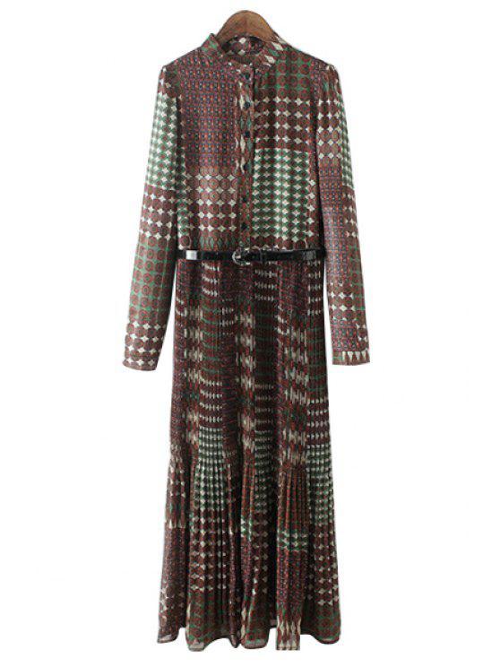 online Vintage Print Stand Collar Long Sleeve Dress - GREEN L
