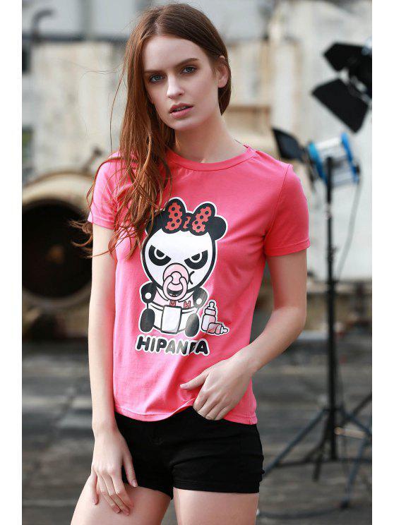 Panda de la historieta del patrón de manga corta camiseta - Rosa L